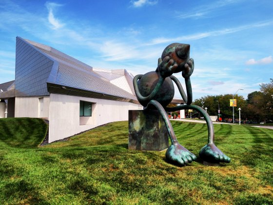 Crying Giant, a bronze sculpture by Tom Otterness, at the Kemper Museum of Contemporary Art in Kansas City, Missouri.